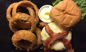 Beef and Bacon Burger With Onion Rings